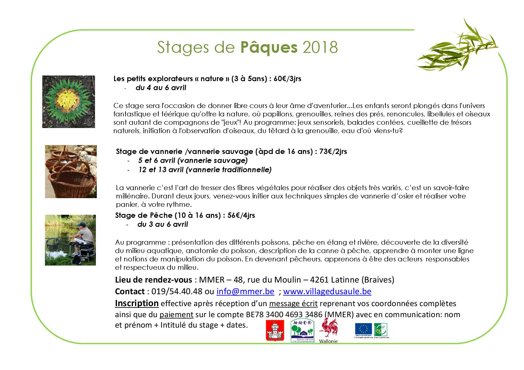 stages MMER Pâques 2018